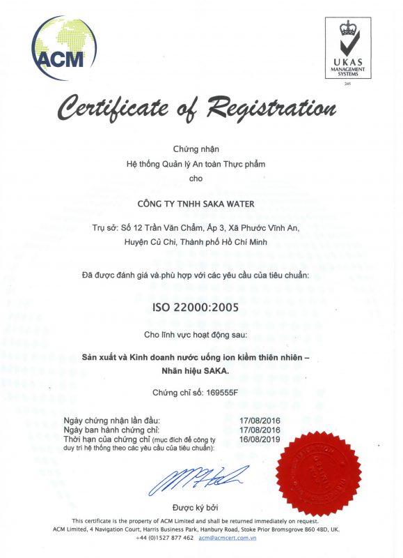 giấy chứng nhận nước saka